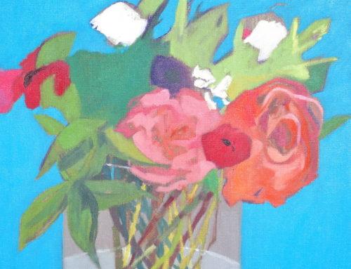 bouquet Danièle, 40×40 cm, huile sur toile