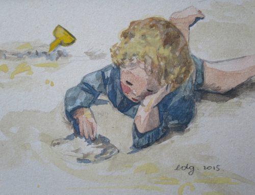Sur le sable, aquarelle sur papier.
